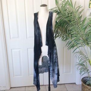 Myth OS Tie Dye Black Gray White Long Scarf Vest